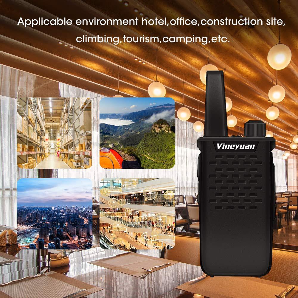 Vineyuan Rechargeable Long Range Two Way Radios 3W UHF 400-470Mhz 1500mAh Walkie Talkies with Earpiece