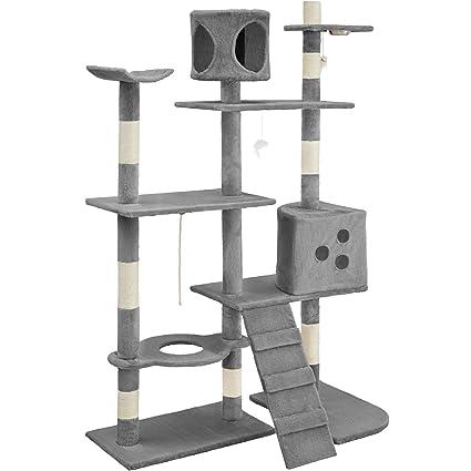 TecTake Rascador para Gatos Árbol para Gatos Sisal Juguetes 167cm (Gris | no. 400447