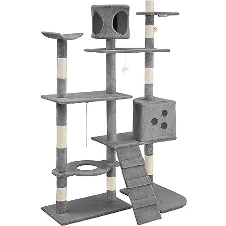 TecTake Rascador para Gatos Árbol para Gatos Sisal Juguetes 167cm (Gris | no. 400447)