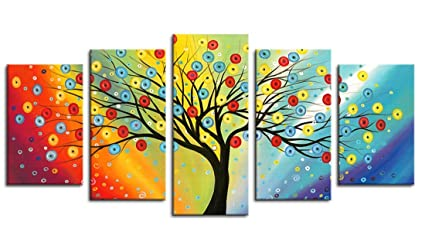 Framed Wall Art Lucky Tree Painting Canvas Ready To Hang   5 Pieces Canvas  Art Contemporary