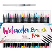 Bluecookies Watercolor Brush Pen, 20 PCS Different Color Painting Brush, Soft Flexible Tip, Water Coloring Brush Marker Pens for Children Adult Coloring Books, Manga, Comic, Calligraphy
