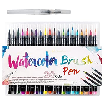 Bluecookies Watercolor Brush Pen, 20 PCS Different Color Painting ...