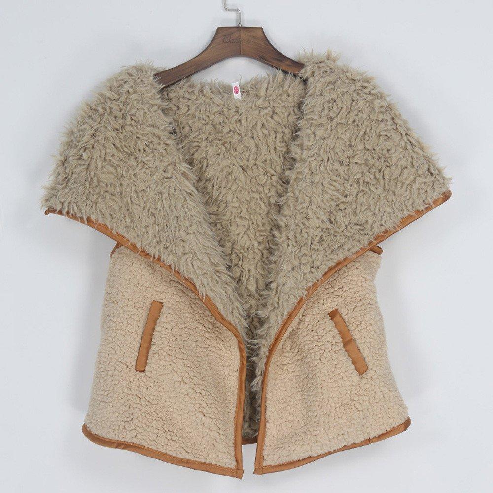 Amazon.com: AOJIAN Women Jacket Sleeveless Outwear Vest Plush Pocket Gilet Waterfall Open Front Waistcoat Coat Khaki: Clothing