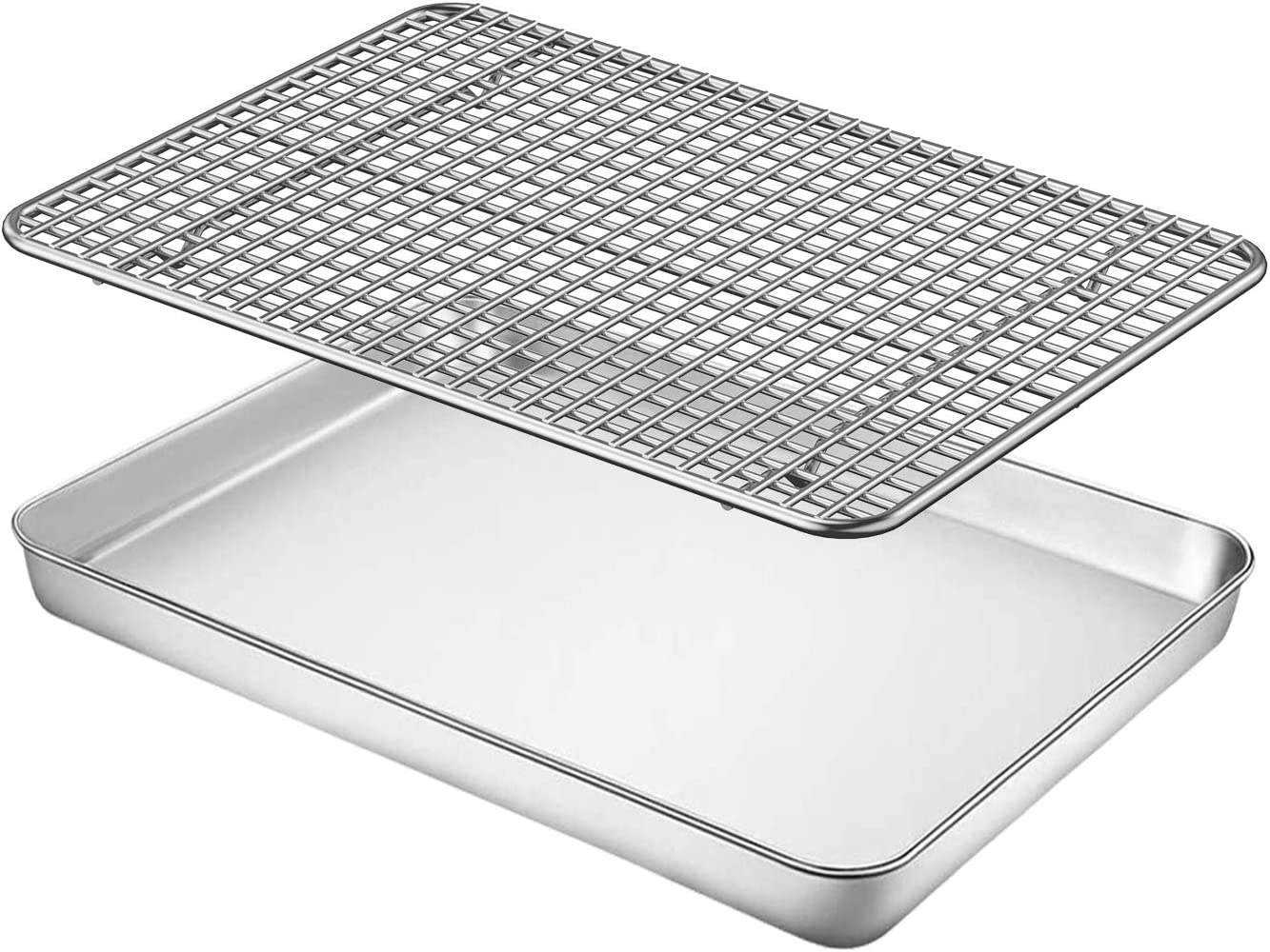 Baking Sheet with Rack Set, Fungun 10 X 8 X 1 Stainless Steel Cookie Sheet Baking Pan Oven Tray with Cooling Rack, Non Toxic & Heavy Duty & Easy Clean