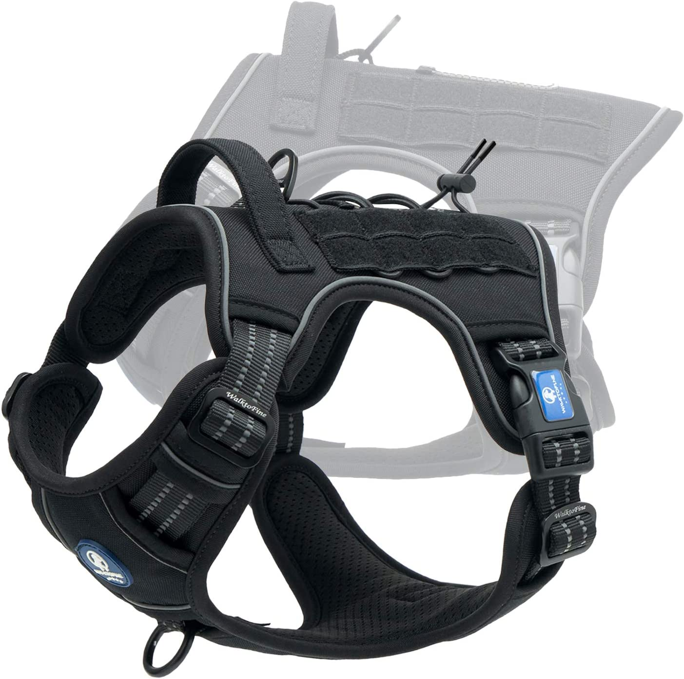 A close-up photo of a black dog harness with lock buckles on the side.
