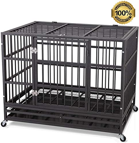 ITORI Heavy Duty Dog Cage-Strong Folding Metal Crate Kennel and Playpen for Medium and Large Dogs with Double Door, Two Lock, Tray and Rolling Wheels 36 42 48