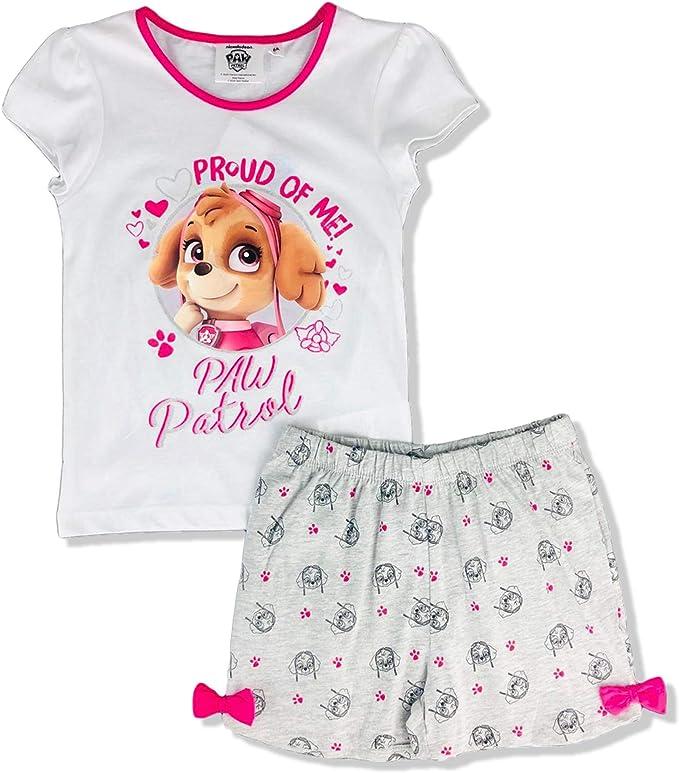 Pijama para niña de la Patrulla Canina, camiseta y pantalón corto de algodón estampado Glitter 2905: Amazon.es: Ropa y accesorios