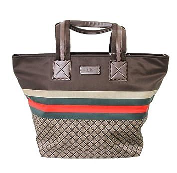 172d37b5a118 Amazon.com | Gucci Unisex Brown Nylon Diamante Travel Tote Handbag ...