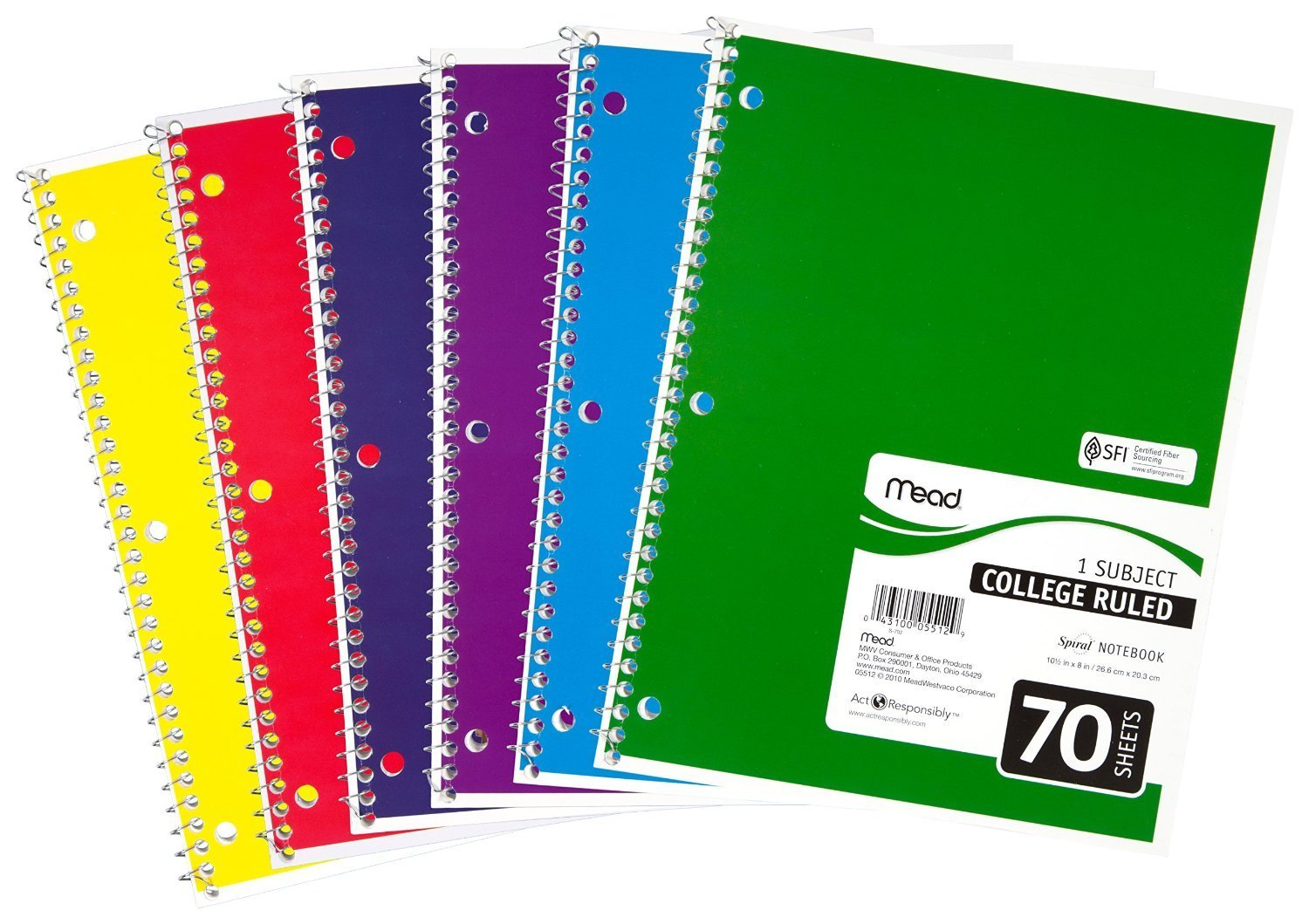 amazon com mead 05512 spiral notebook college ruled 7 5 x 10 5