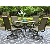 """PHI VILLA Patio Dining Set 5 PCs Outdoor Dining Table Chair Set Outdoor Kitchen Garden Furniture with 4 Swivel Chair & 1 Square 37"""" Dining Table with 1.57"""" Umbrella Hole"""