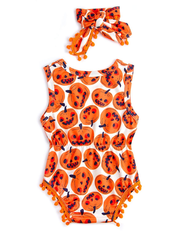 RAISEVERN 6-12 mesi Baby Pagliaccetto Unisex Baby Outfit misto cotone con stampa zucca Playsuit innocuo bianco Comfy tuta taglia 90