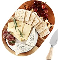 Hecef Oval Wooden Cheese Board Set, Acacia Wood Cheese Serving Board with White Marble Board & Cheese Knife, Cheese…