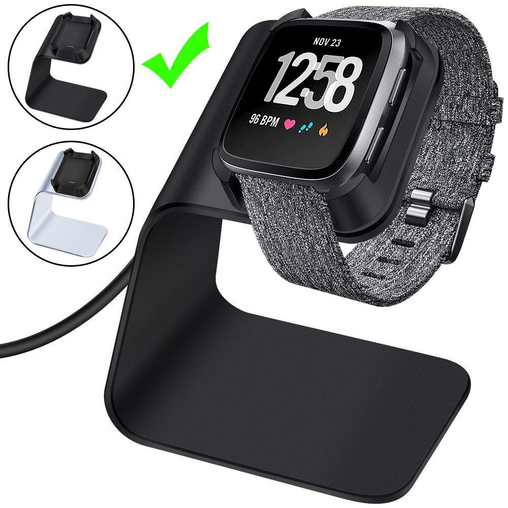 CAVN Charger Dock Compatible with Fitbit Versa/Versa Lite, Premium Aluminum Charging Cable Cord Station Cradle Base Attached 4.2ft USB Stand Cable Smartwatch Accessories, Black by CAVN