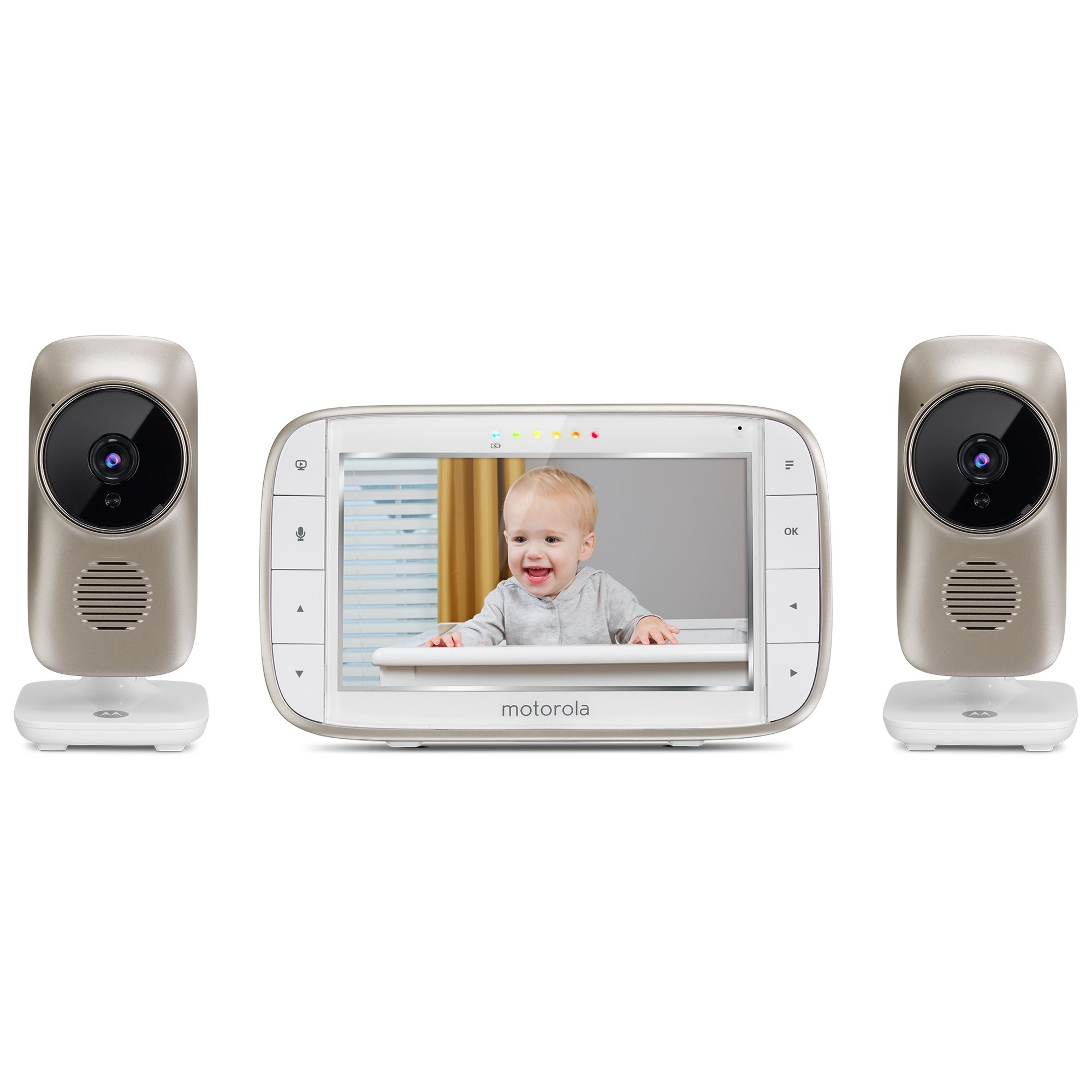 Motorola MBP845CONNECT-2 5'' Video Baby Monitor with Wi-Fi Viewing, 2 Cameras, Digital Zoom, Two-Way Audio, and Room Temperature Display