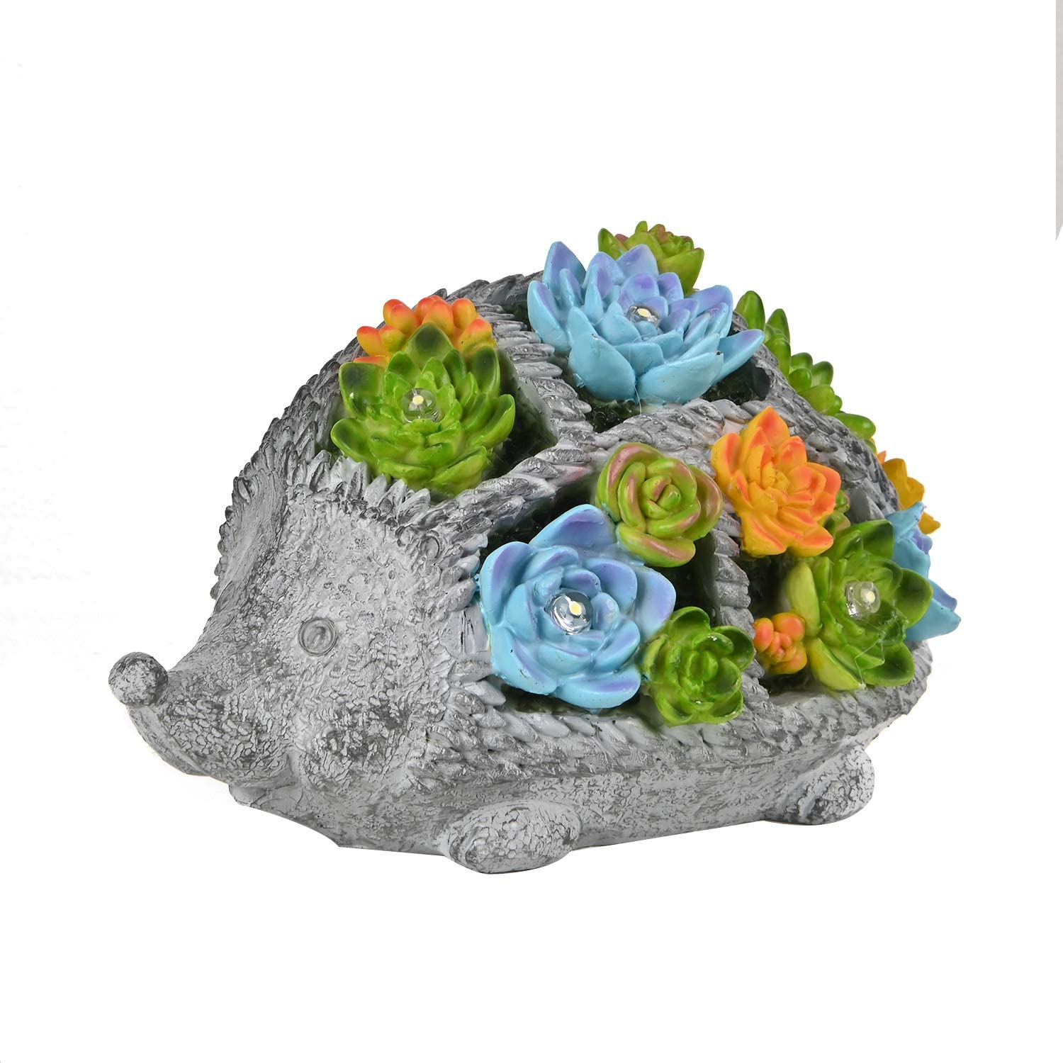 ASAWASA Hedgehog Solar Garden Statues and Sculptures Outdoor Decor, Garden Figurines with Solar Powered Lights for Patio,Lawn,Yard Art Decoration, Housewarming Garden Gift,9.7x6.1x5.7 Inch
