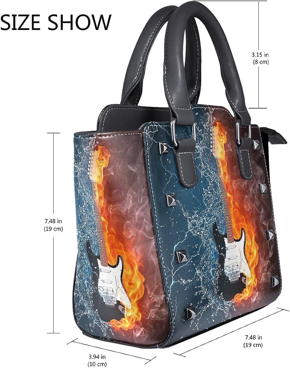 Use4 Electric Guitar Fire Water Rivet PU Leather Tote Bag Shoulder Bag Purse