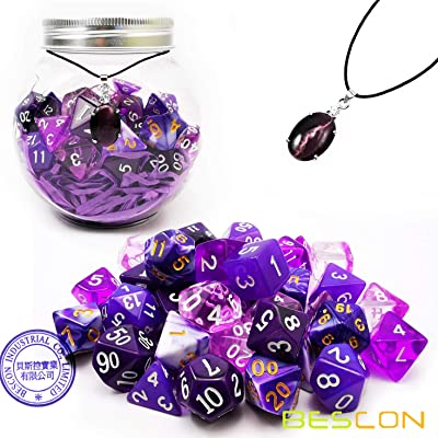 Bescon 35pcs Polyhedral RPG Dice Amethysts Set, DND Role Playing Game Dice Purple Sets 5X7pcs: Sports & Outdoors [5Bkhe0806990]