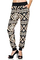 G2 Chic Women's Printed Harem Jogger Pant with Elastic Waist