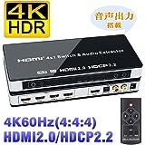 BLUPOW 4K60Hz HDMI2.0 HDCP2.2 HDR対応 HDMI 切替器 4入力1出力 + 音声分離(SPDIF 光デジタル・R/Lアナログ音声出力) HDMI セレクター 分離 音声 hdmi オーディオ 分離 2160P 3D ARC対応 Fire TV・Apple TV・PS4pro・Xbox・Blu-ray Players対応 hdmiスイッチャー4×1