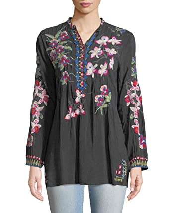 760f456d097e5 Johnny Was Collection Graphite Tropical Garden Button-Front Tunic (Large)