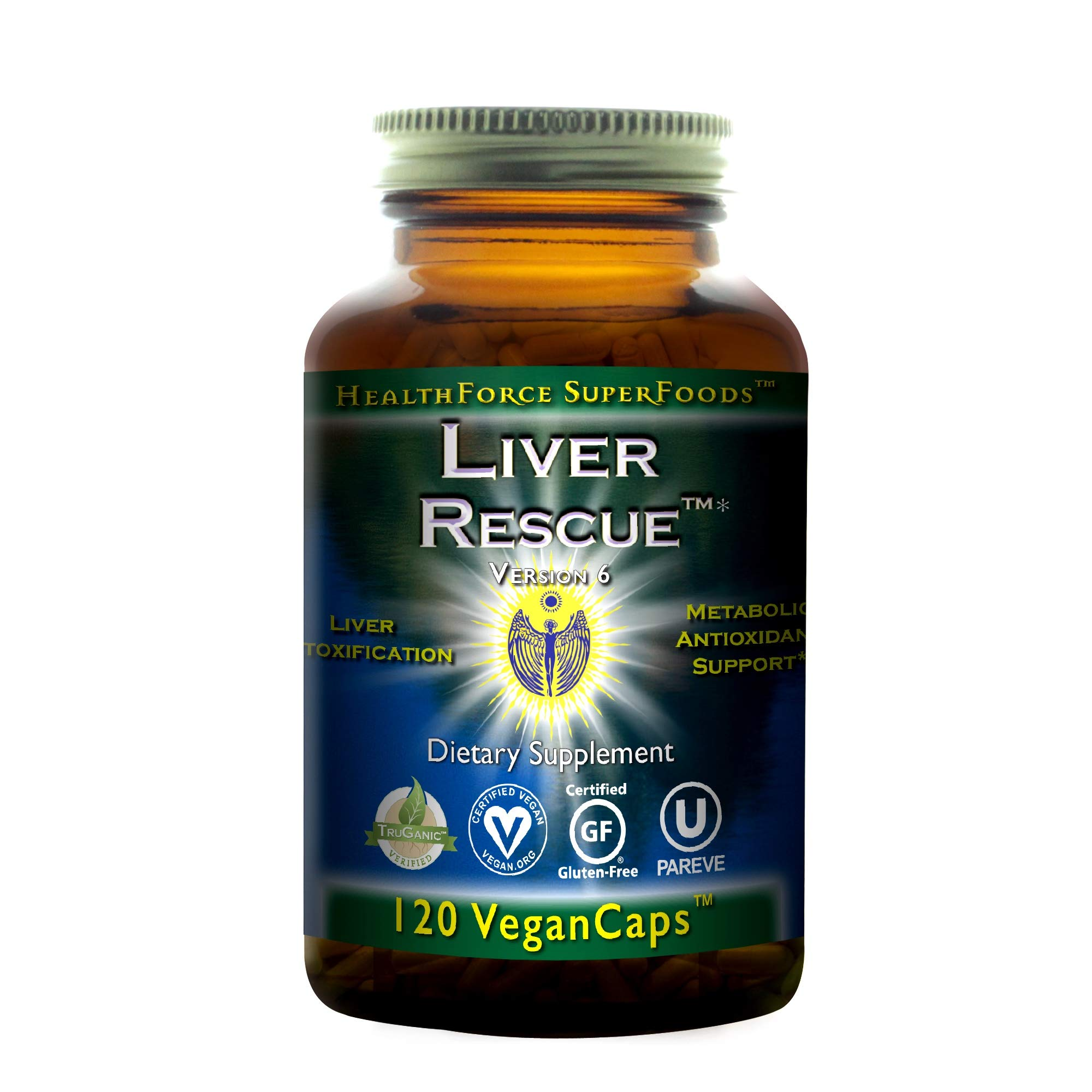 HealthForce SuperFoods Liver Rescue - 120 Vegan Capsules - All Natural Liver Detoxifier & Regenerator Supplement