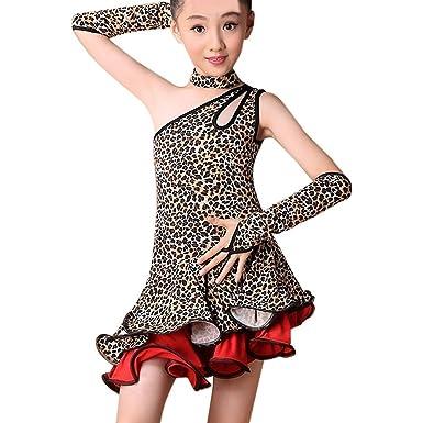 Modaworld Vestidos niña, Vestido de Baile Latino de Leopardo ...