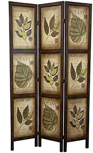 Oriental Furniture 6 ft. Double Sided Botanic Printed Wood Room Divider – 3 Panels