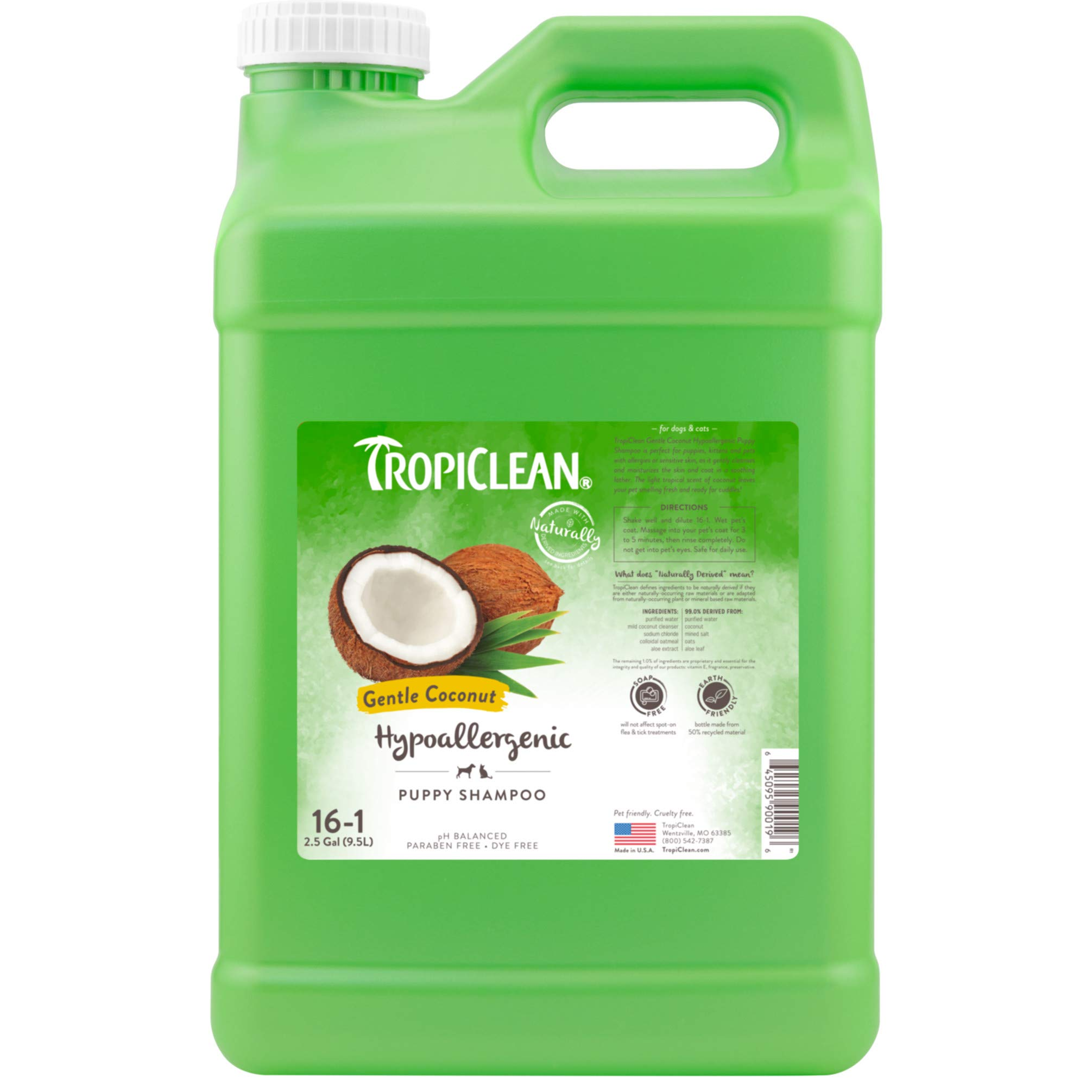 TropiClean Gentle Coconut Hypoallergenic Puppy Shampoo, 2.5 Gallon by TropiClean