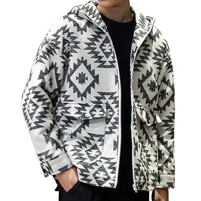 Rovinci Abrigos de los Hombres Moda Guapo cálido otoño Invierno Casual con Capucha Cremallera Bolsillo Impreso Abrigo Abrigo Prendas de Vestir Exteriores: ...