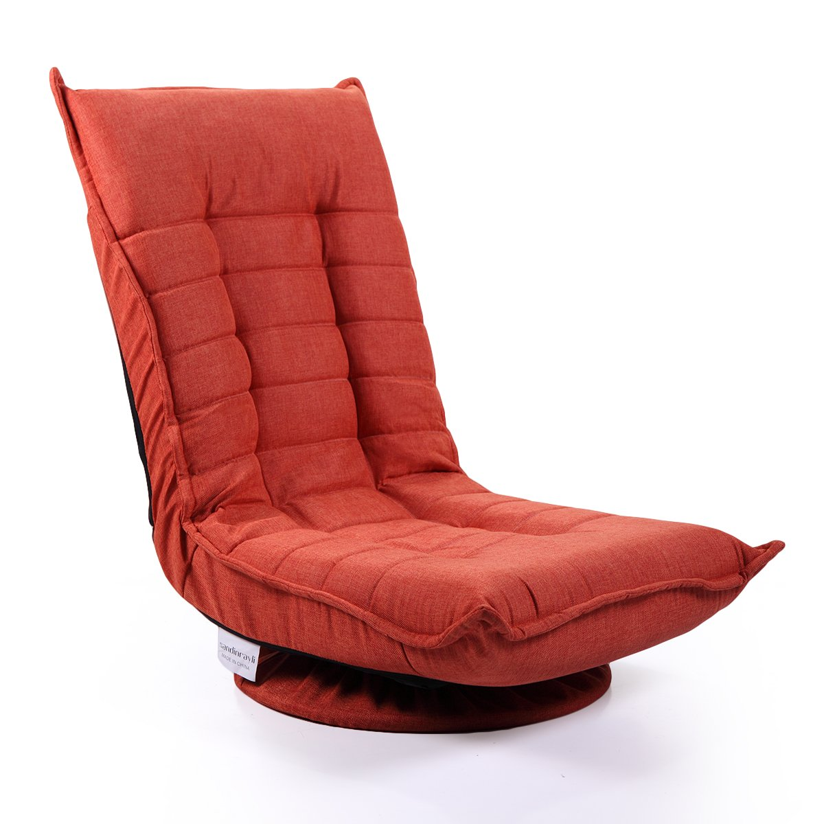 Tobbi Fabric Folded Floor Chair 360 Rotation Swivel Video Rocker Gaming Sofa Chair Adjustable Angle Chair Orange Red