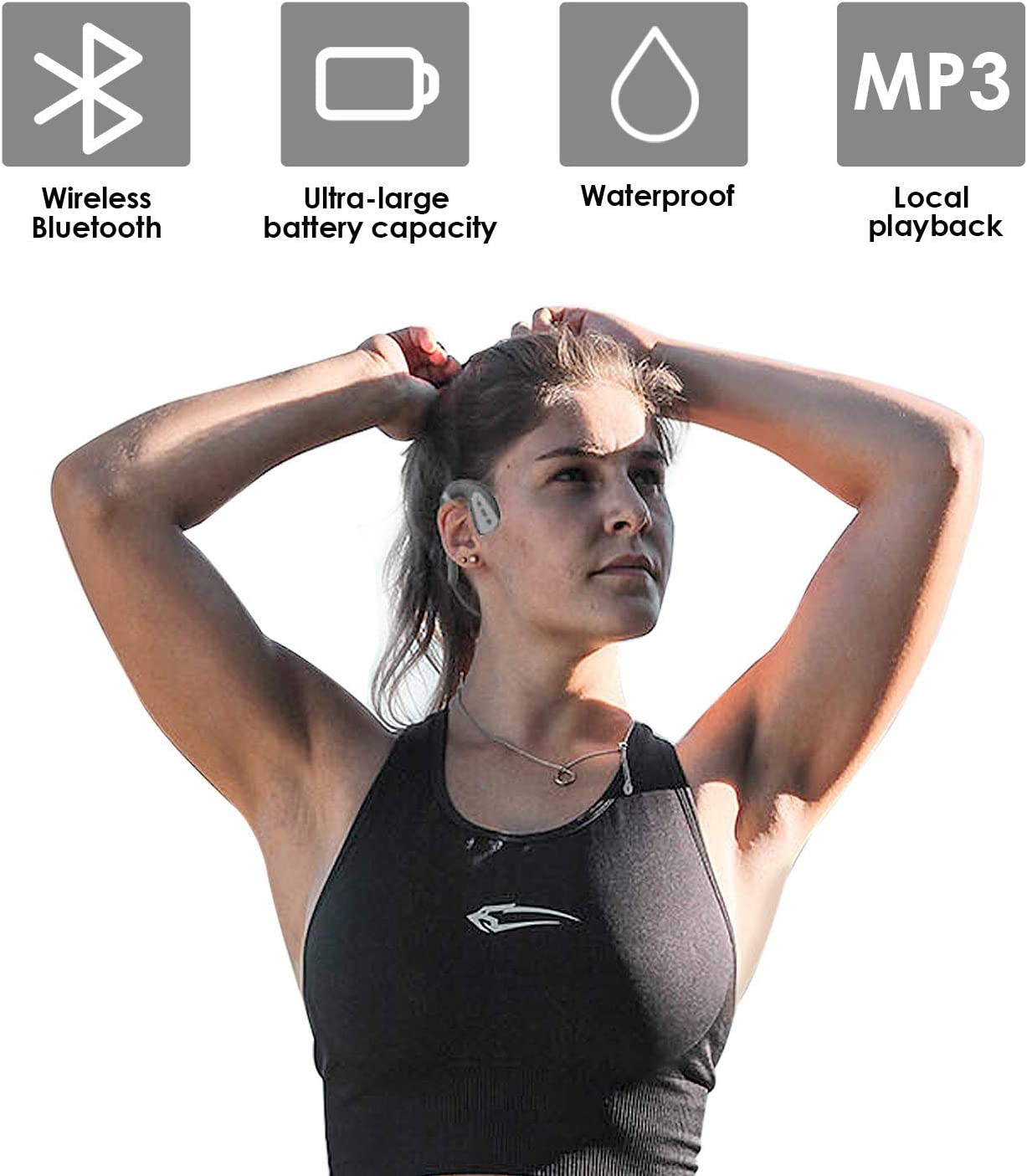 Low Cost inspireLAB Bone Conduction Headphones for Swimming IPX8 Waterproof with 8GB Independently MP3 Player, TWS Sports Headset Mic Sweatproof (Black Grey) Black Red cfLnHzc