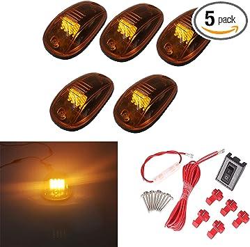 Amber Lights 5pcs LED Cab Roof Top Marker Lamp Clearance Running Light for 2003-2016 Dodge Ram Pickup