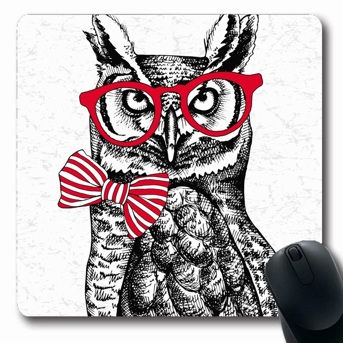 Alfombrillas para computadoras Gafas de búho Rojo Corbata Pájaro ...