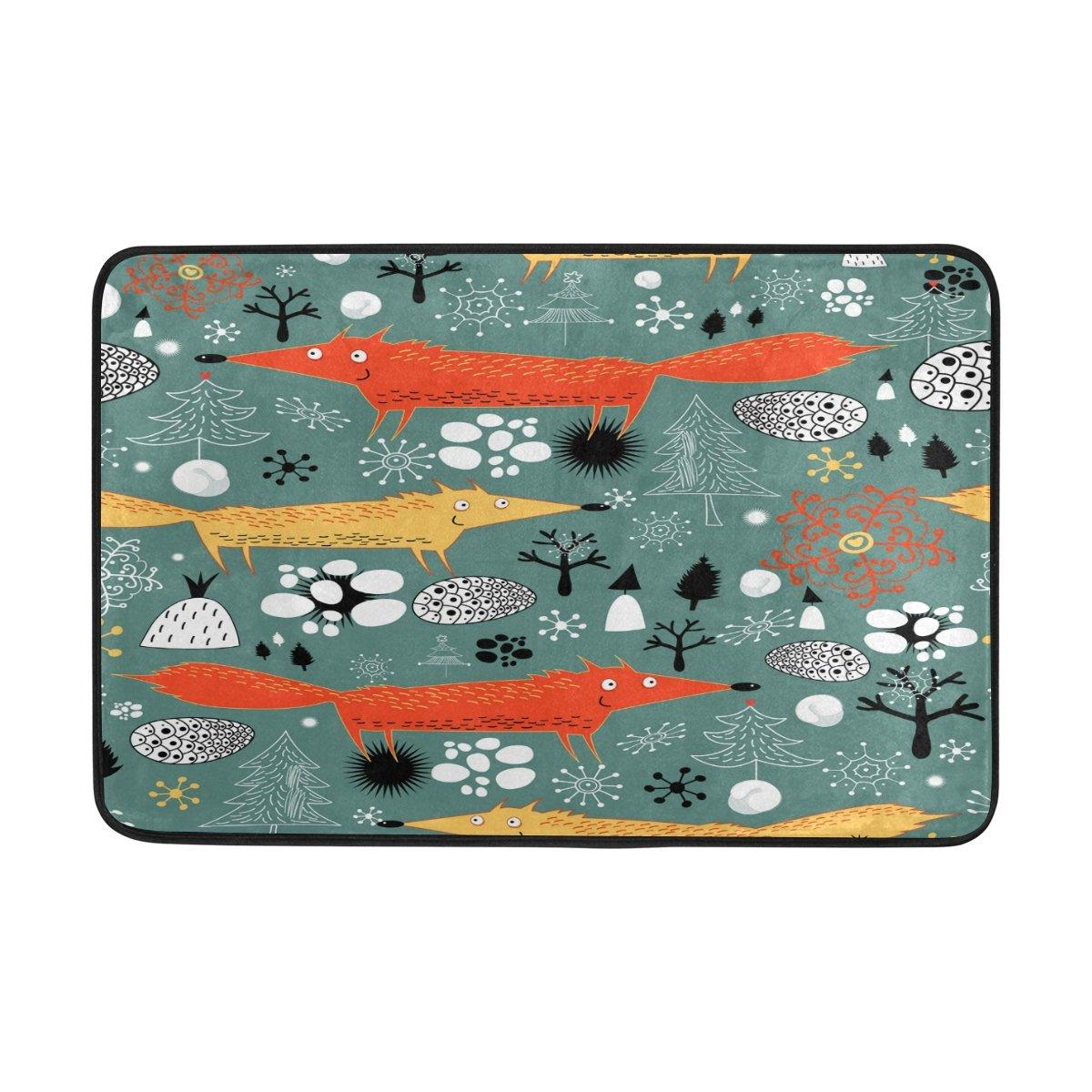 Merry Christmas Tree Fox Snow Forest Woods Nut Indoor/Outdoor Door Mat Super Absorbs Mud Floor Mat 23.6 x 15.7 Inch Slip-Resistant Rubber Backing Design by MOCK ST