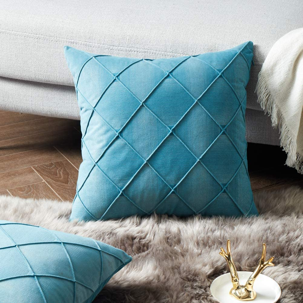 Fancy Homi Pack Of 2 Velvet Luxury Teal Decorative Throw Pillow Covers Soft Plaids Accent Solid Square Cushion Pillow Cases Set For Couch Sofa Bedroom Car Living Room 18x18 Inch 45x45 Cm Teal
