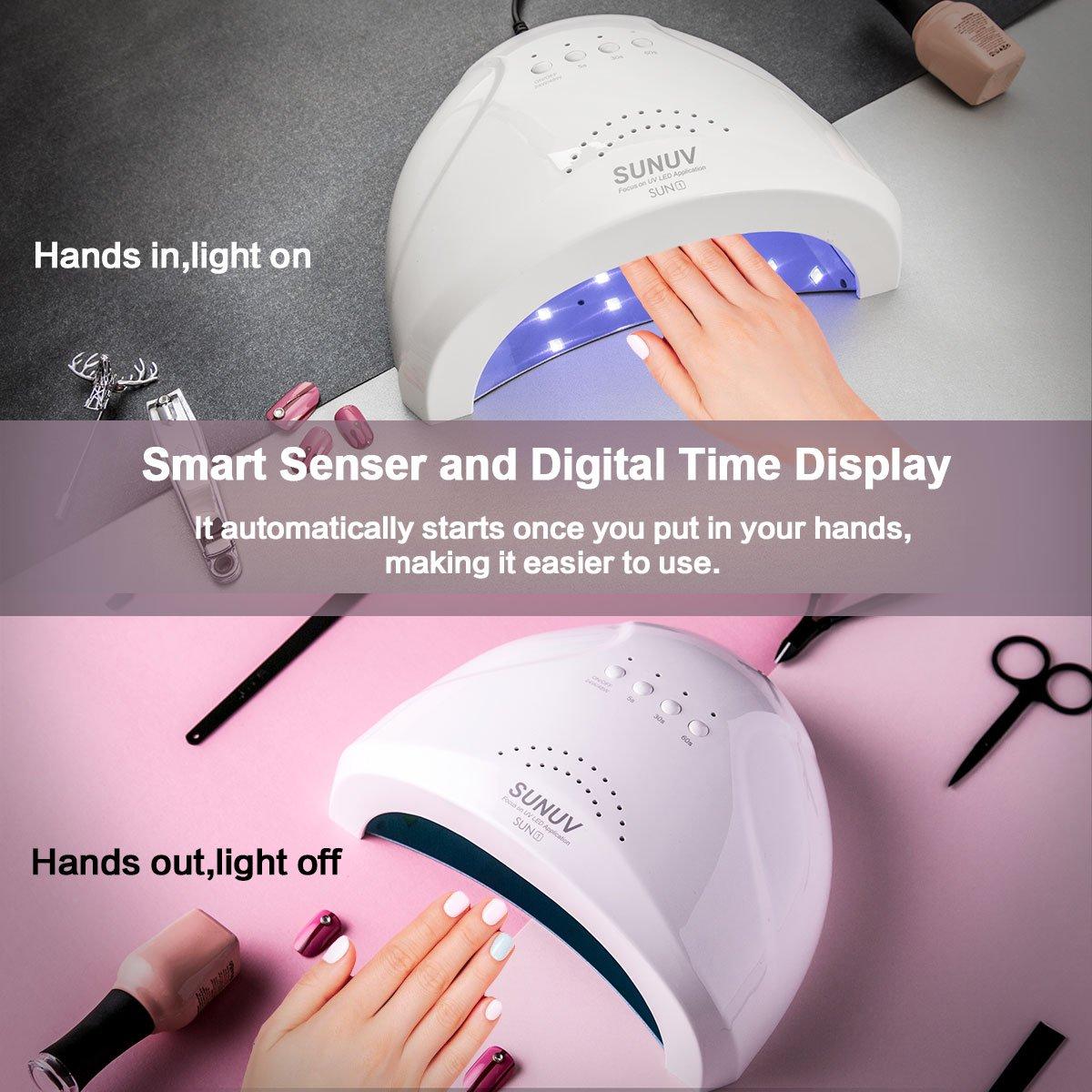 UV Gel Nail Lamp SUNUV LED Nail Dryer for Gel Polish 24W  48W UV Light with 3 Timers SUNone
