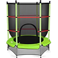 Costway Kids Trampoline Junior Round w/Enclosure Safety Net Spring Pad Cover, Outdoor Jumping, 4.5ft,Green
