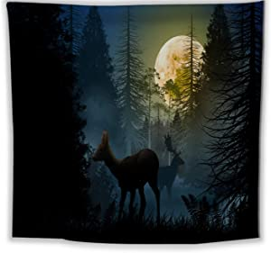 Tapestry Wall Hanging for Teen Girl Bedroom Nature Animals Deer Moon Forest at night Funny Art Soft Apartment Decor Blue Black 59.1 x 78.8 Inch
