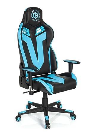hjh OFFICE 734110 silla gaming GAMEBREAKER VR 12 piel sintética negro / azul claro silla racing oficina: Amazon.es: Hogar