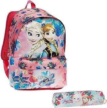 Mochila Frozen Casual Básica Infantil para Niñas Adolescentes+ Estuche Escolar - Princesas Disney Anna Elsa - Mochila Escolar Juvenil con Bolsillo Delantero - Regalos para Niñas- Colegio Viaje: Amazon.es: Equipaje