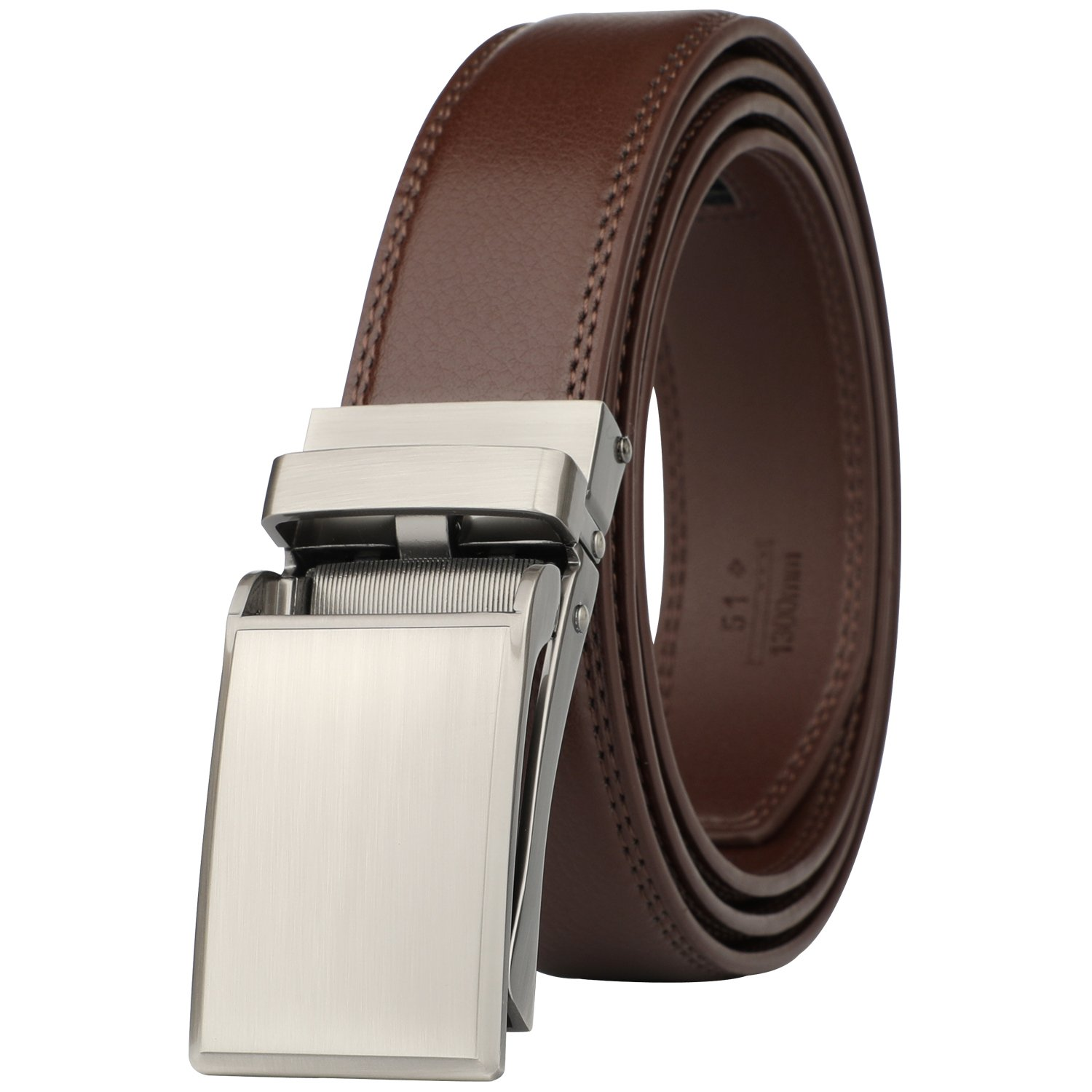 Dante men's Ratchet Click Slide Dress Belt with Genuine Leather,Trim to Fit(55-1766 Brown) by Dante