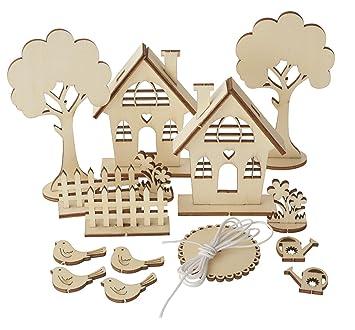 Rayher Holzbausatz Holz Steckmtiv Gartenhäuser 29 Teile Vogel