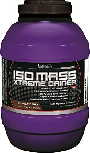 Ultimate Nutrition ISO Mass Xtreme Weight Gainer Protein Isolate Powder with Creatine – Gain Serious Lean Muscle Mass Fast with 60 Grams of Protein, Chocolate, 30 Servings