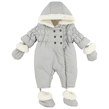 ad8ada03adb3 3Pommes 3A46021 Baby Girl s Faux Faur Lined Snowsuit Silver 6 - 9 ...
