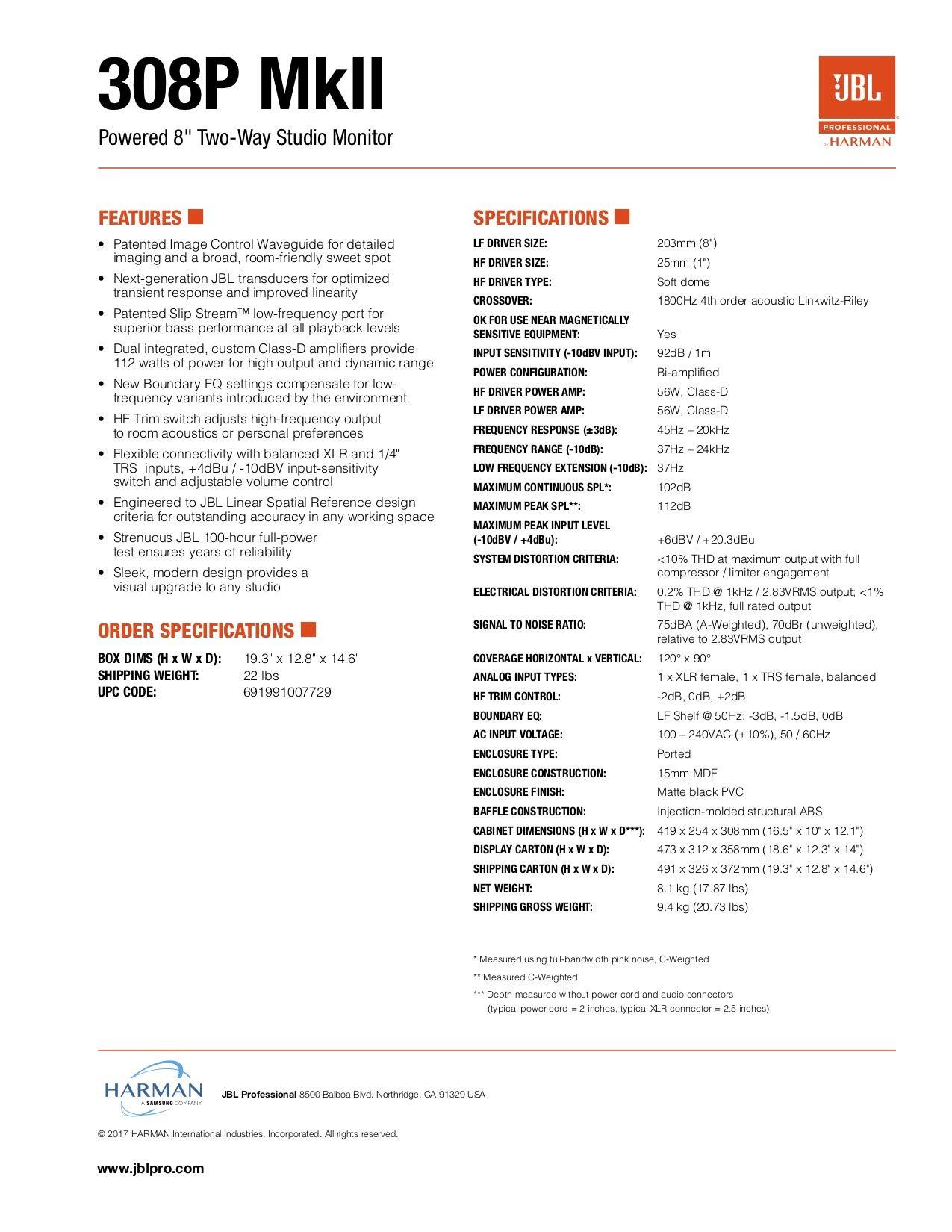 JBL 306P MkII 6'' 2-Way Powered Studio Monitor (new model) by JBL Professional (Image #11)