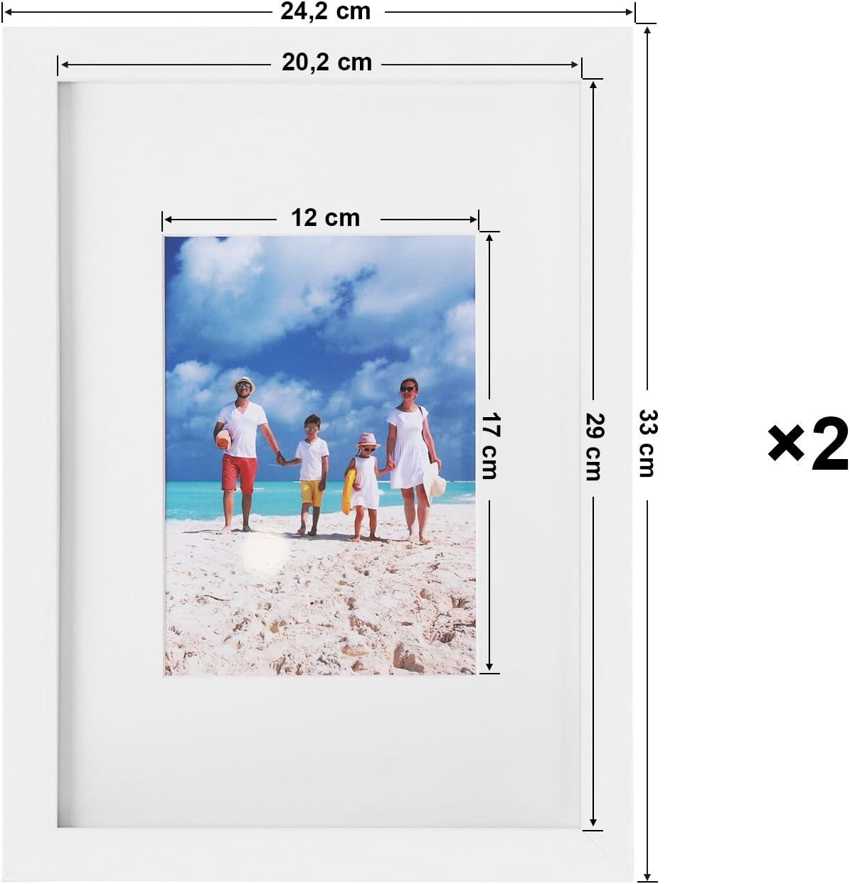 pour Photo A3 Photo A4 Blanc RPF03WT 29,7 x 42 cm 21 x 29,7 cm sans Passe-Partout Vitre en Verre SONGMICS Cadre Photo Lot de 3 avec Passe-Partout
