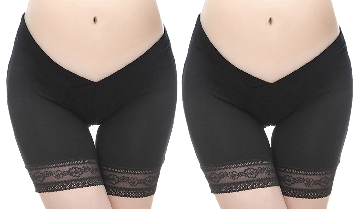 FEOYA 2 Pack Maternity Underwear Breathable Pregnancy Shorts Low Wasit Shorts Waist Belly Support Underpants