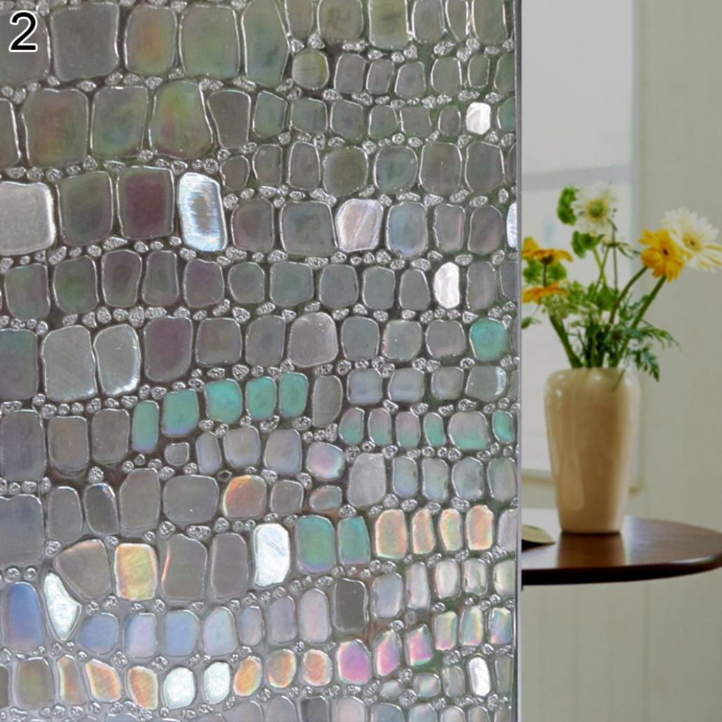 Bodhi2000 Privacy Window Film Stain Glass Film Window Cling No-Glue Static Decorative Window Covering Frosted Window Film 45cm x 100cm TRTAZ11A
