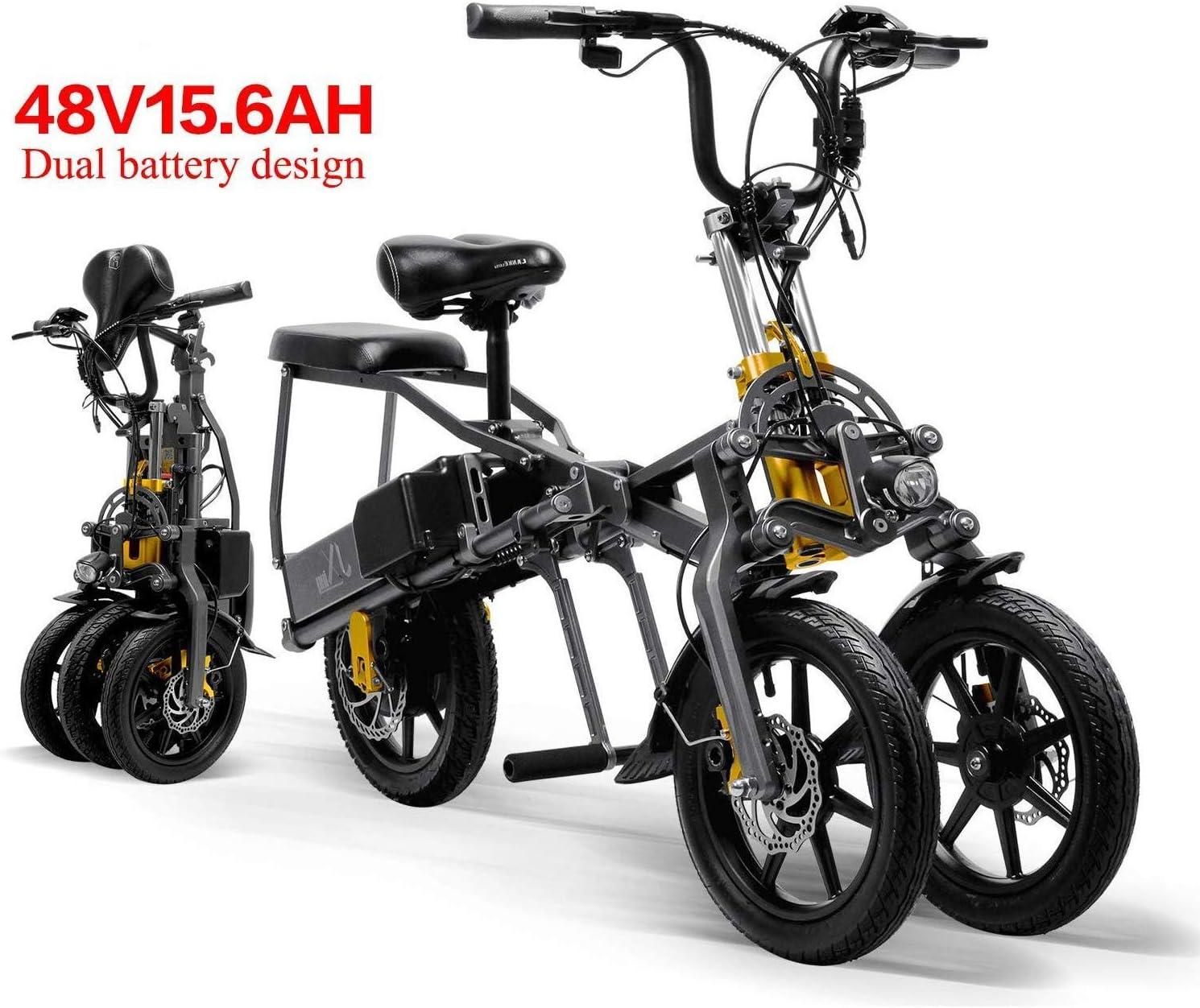 XINTONGDA 2 baterías de Coche eléctrico Triciclo 48V 15.6A Plegable eléctrico de Tres Ruedas 14 Pulgadas Bicicleta de 1 Segundo Alta Cocina eléctrica de fácil