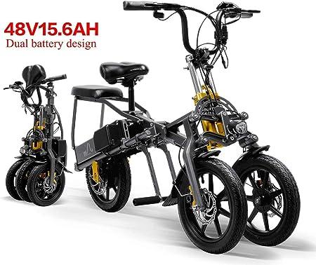 XINTONGDA 2 baterías de Coche eléctrico Triciclo 48V 15.6A Plegable eléctrico de Tres Ruedas 14 Pulgadas Bicicleta de 1 Segundo Alta Cocina eléctrica de fácil: Amazon.es: Hogar